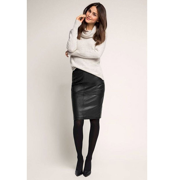 Stylish Leather Skirt Outfits