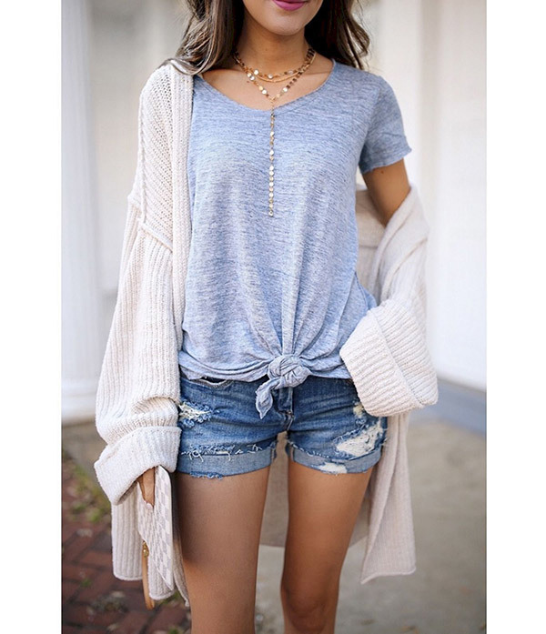 Spring Outfits with Denim Shorts