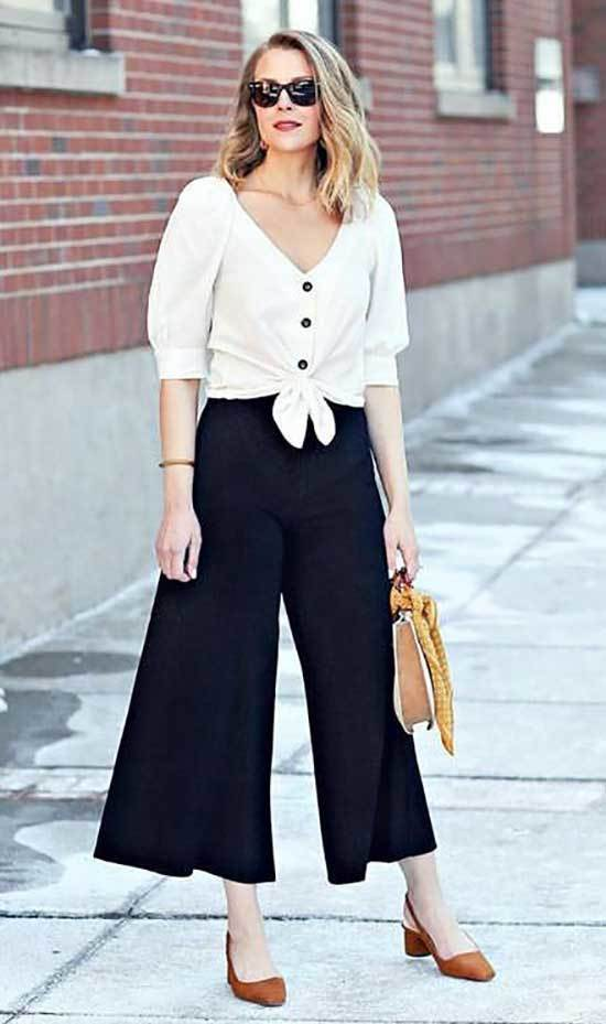 Black High Waisted Wide Leg Trousers Outfits