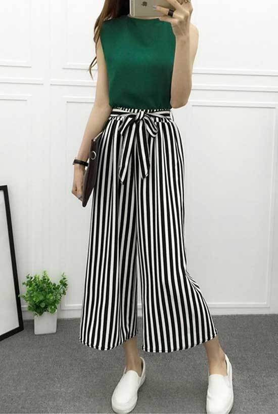 Striped High Waisted Wide Leg Trousers Outfits