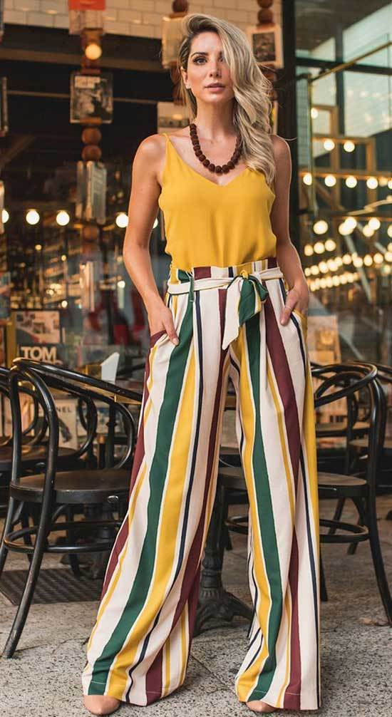 Trendy High Waisted Wide Leg Trousers Outfits