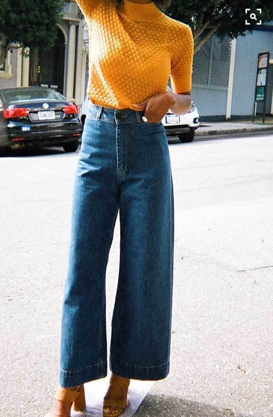Cropped High Waisted Wide Leg Trousers Outfits