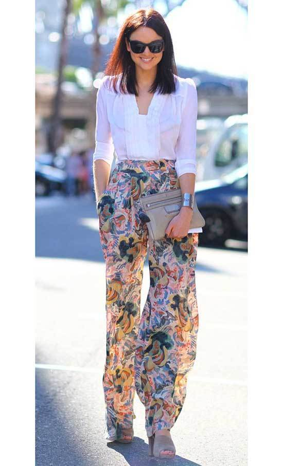 Floral High Waisted Wide Leg Trousers Outfits
