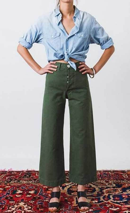 High Waisted Wide Leg Cropped Trousers Outfits