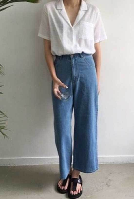 High Waisted Wide Leg Jean Trousers Outfits