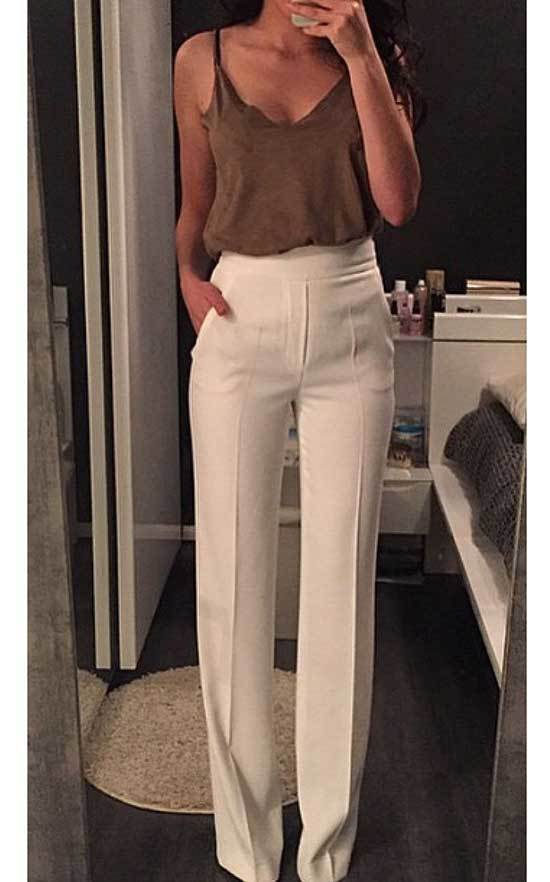 High Waisted Wide Leg Trousers Work Outfits
