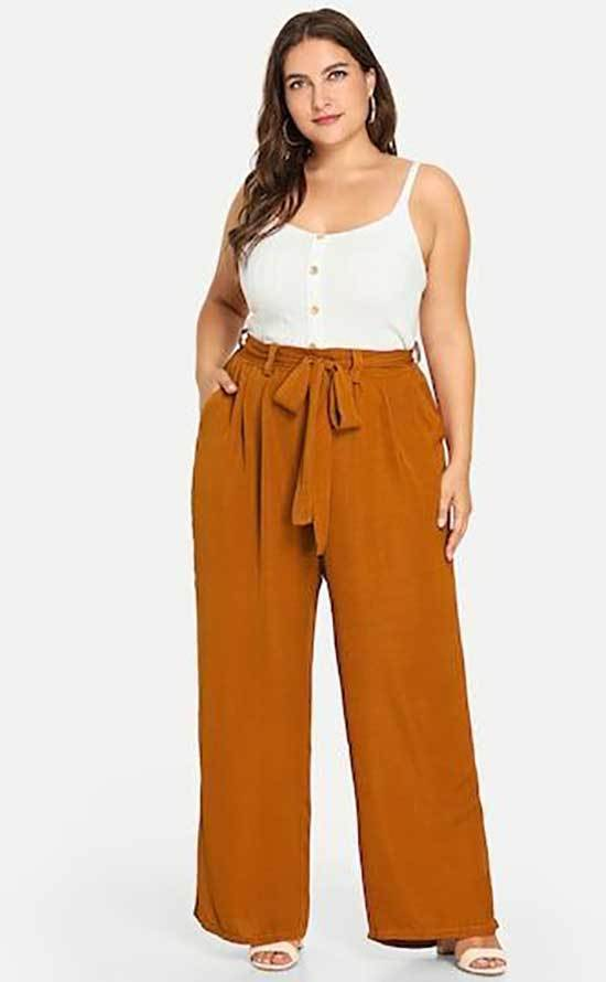 Plus Size High Waisted Wide Leg Trousers Outfits