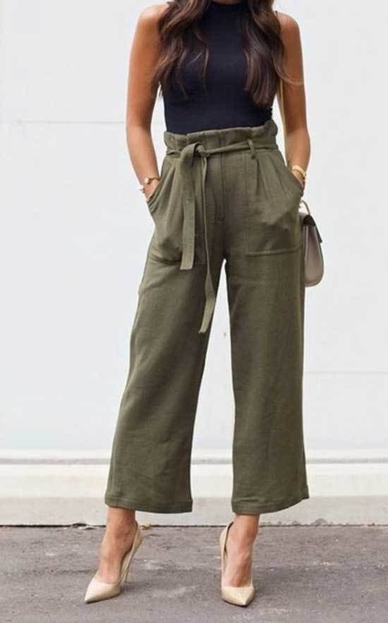 Short High Waisted Wide Leg Trousers Outfits