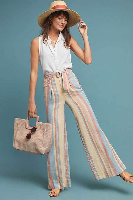 High Waisted Wide Leg Trousers Outfits for Girls