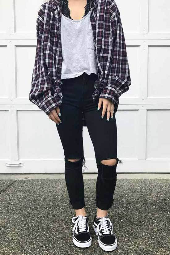 Shirt Outfits with Sneakers