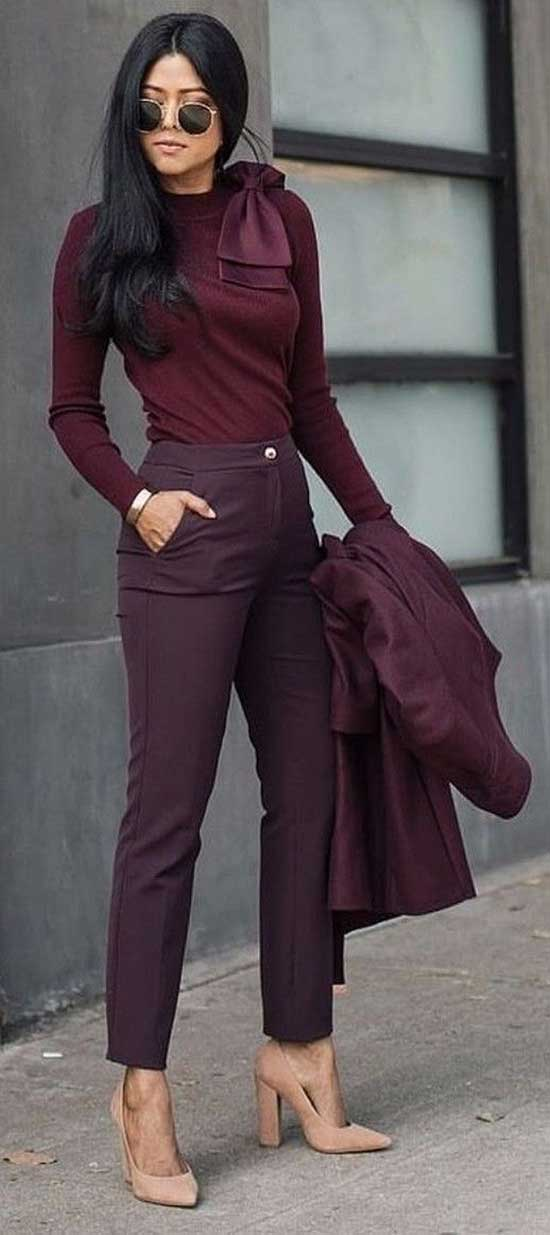 Burgundy Autumn Work Outfits