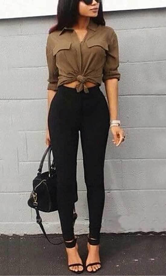 High Waisted Black Pants Outfits