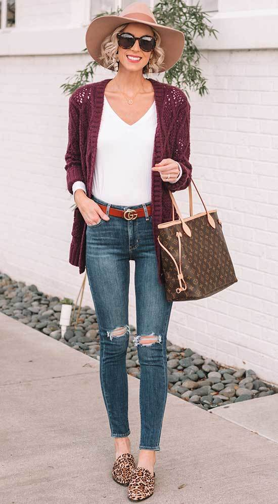 High Waisted Pants Outfits with Cardigan