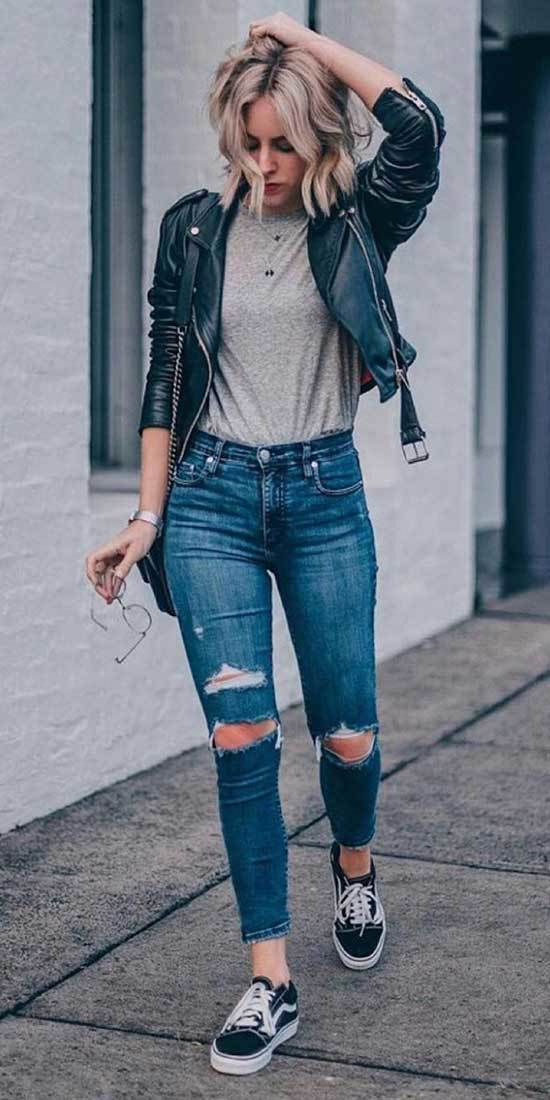High Waisted Leather Pants Outfits
