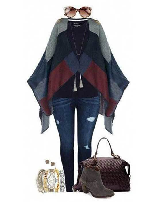 Plus Size Fall Poncho Outfits