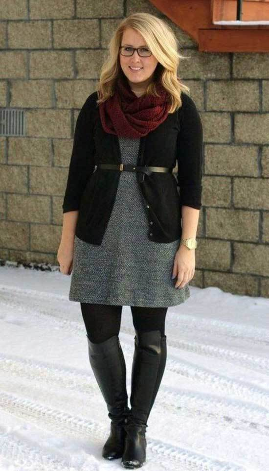 Plus Size Fall Outfits with Boots