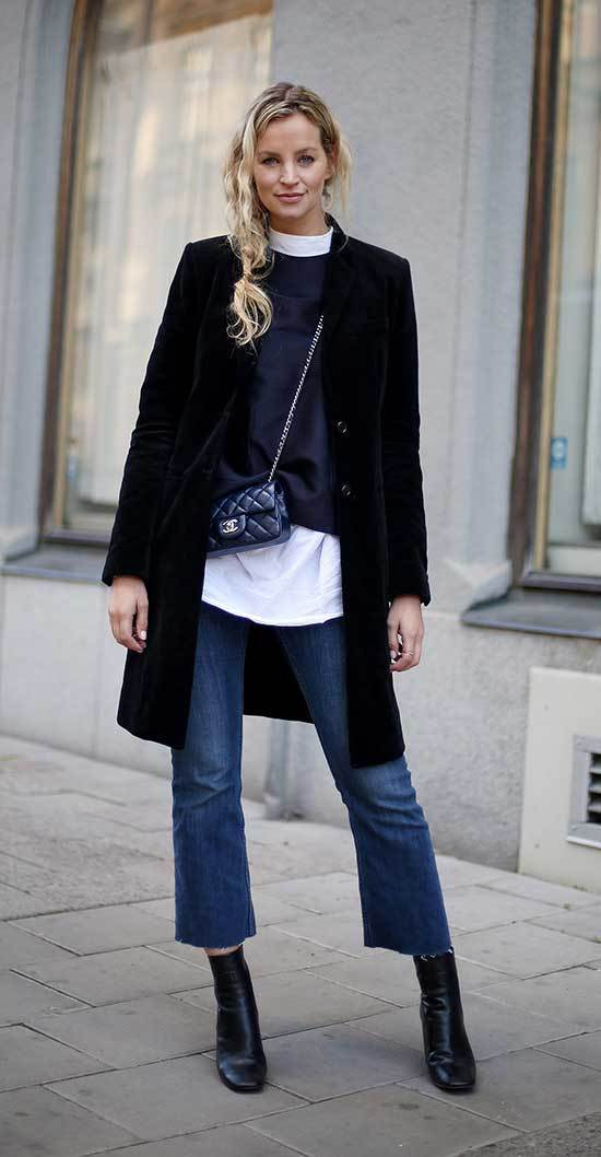 Cropped Jeans and Boots Outfits