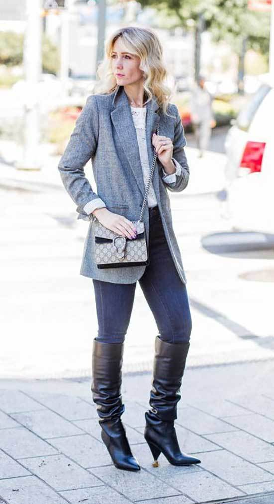 Jeans and Slouchy Boots Outfits