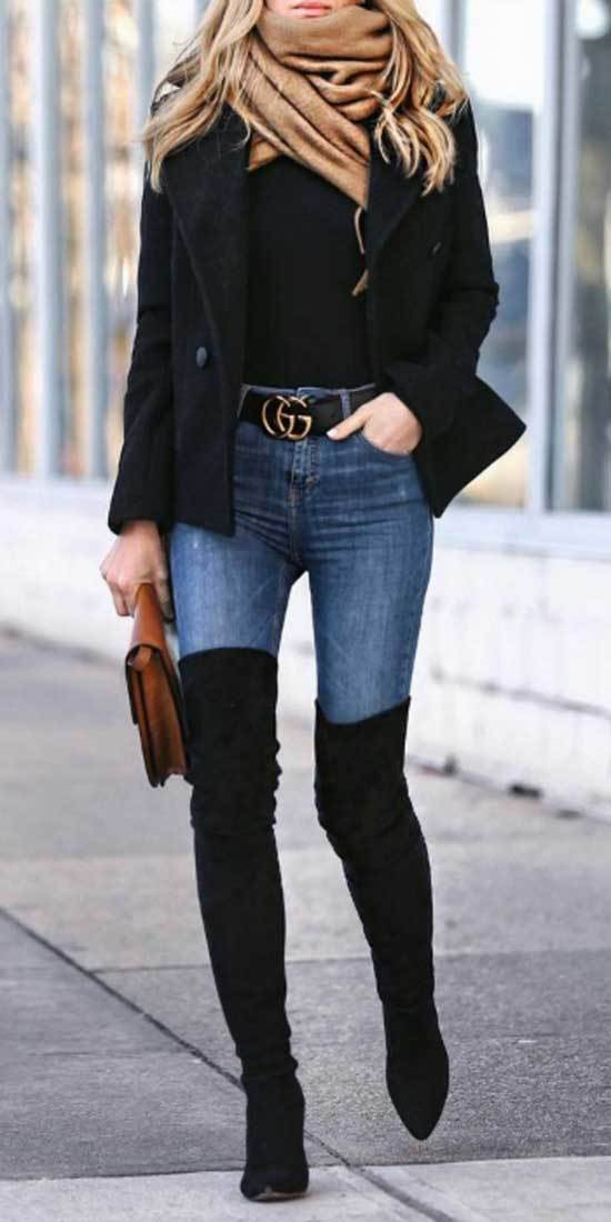Jeans and Boots Outfits for Winter