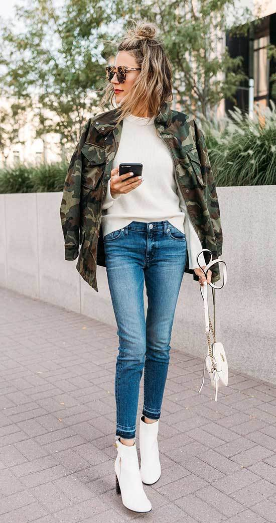 Jeans and White Boots Outfits