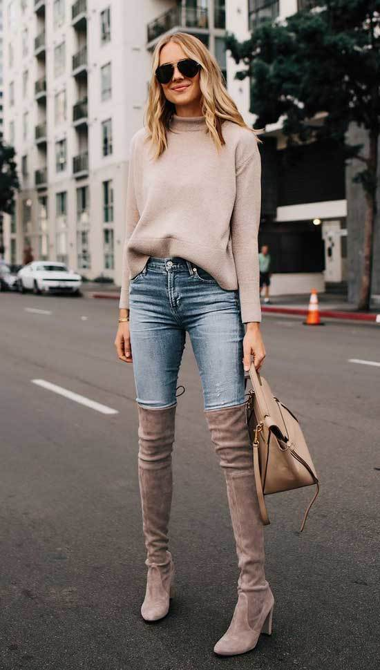 Trendy Jeans and Boots Outfits