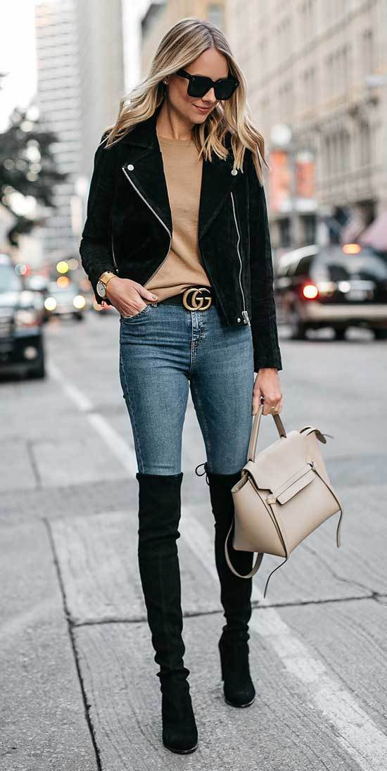 Stylish Jeans and Boots Outfits