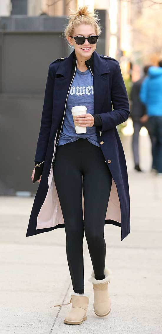 Cute Winter Gigi Hadid Outfits with Uggs