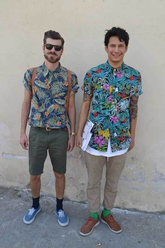 Men Tropical Shirt Outfits