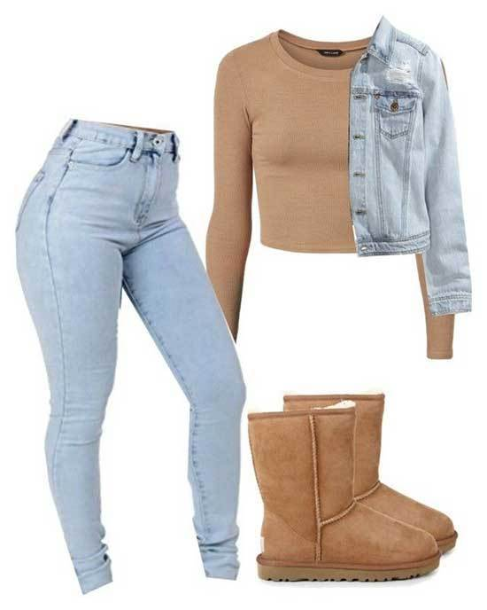 Cute Winter Denim Outfits with Uggs