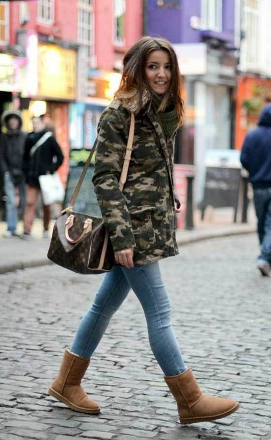 Cute Winter Jacket Outfits with Uggs