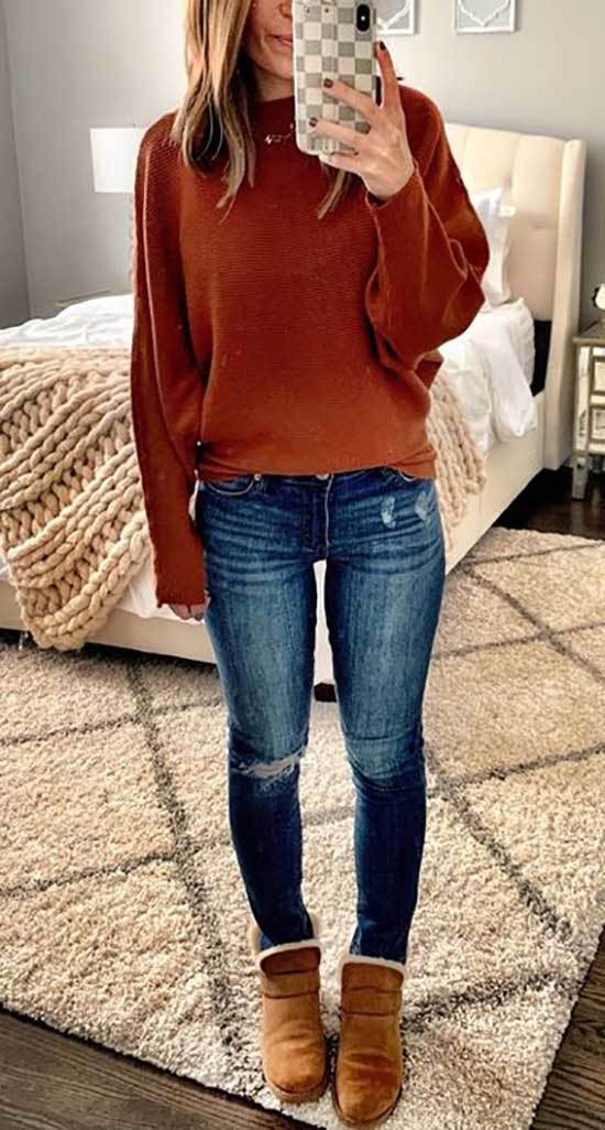 Cute Winter Sweater Outfits with Uggs