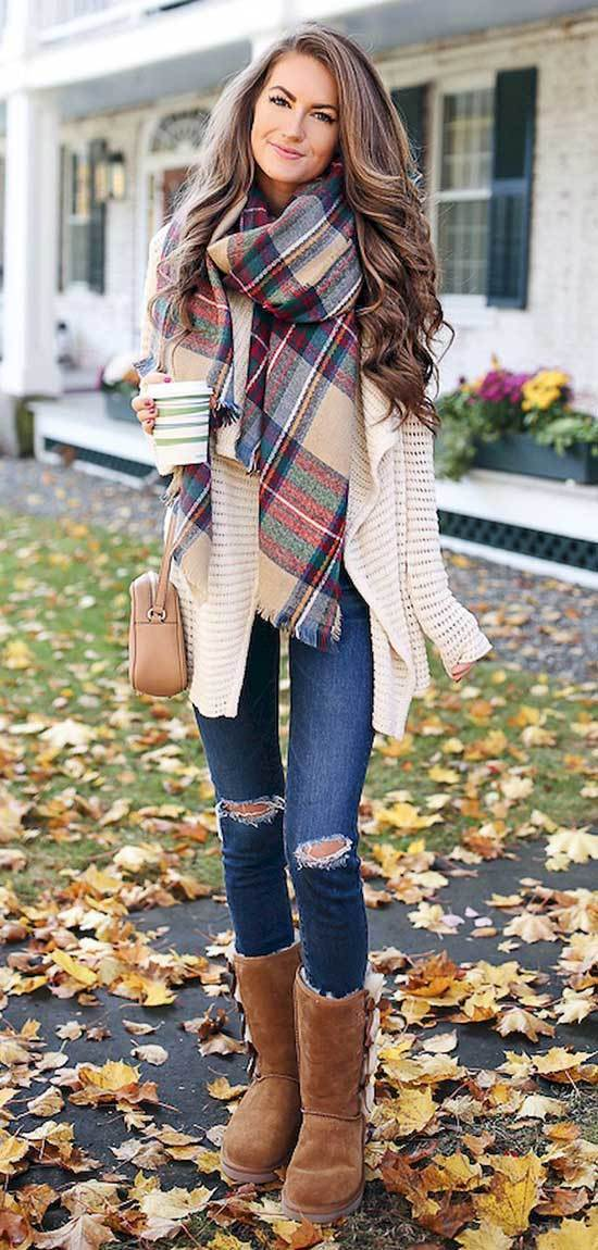 Cute Winter Cardigan Outfits with Uggs