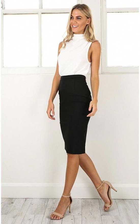 Professional Summer Work Midi Skirt Outfits