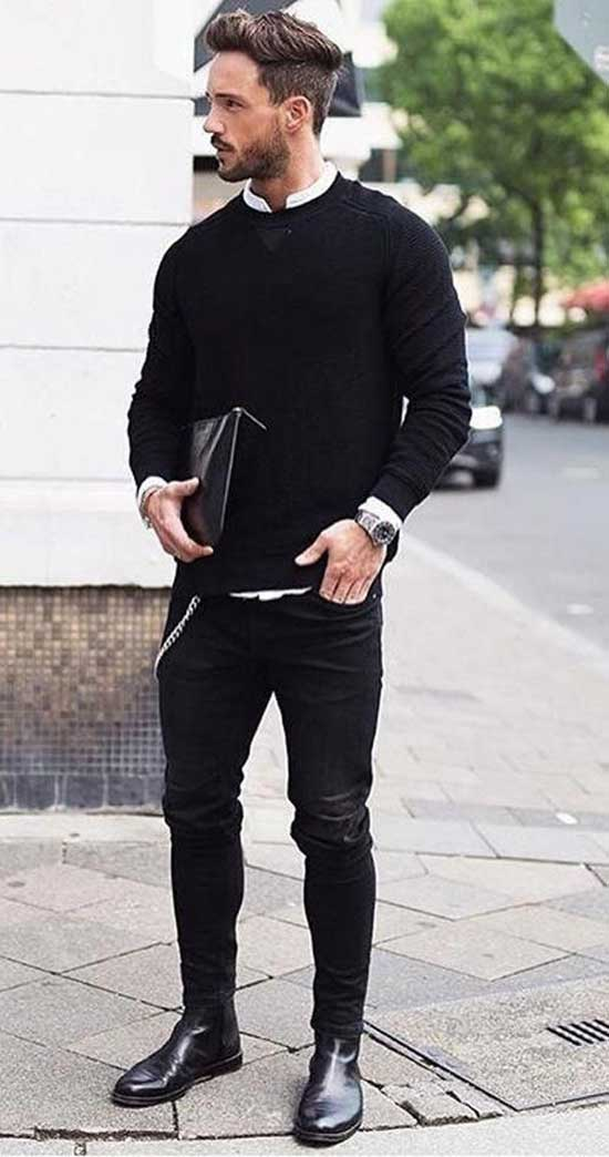 Black Pants Boots Outfits Mens