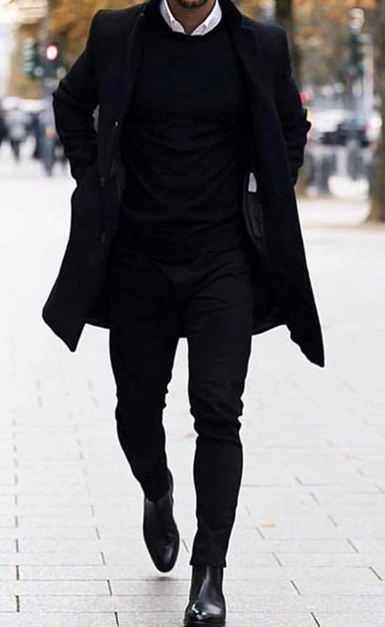 Black Pants Winter Outfits Mens