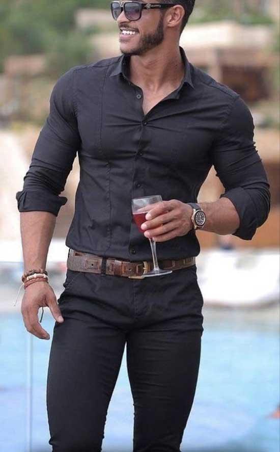 Black Pants Shirt Outfits Mens