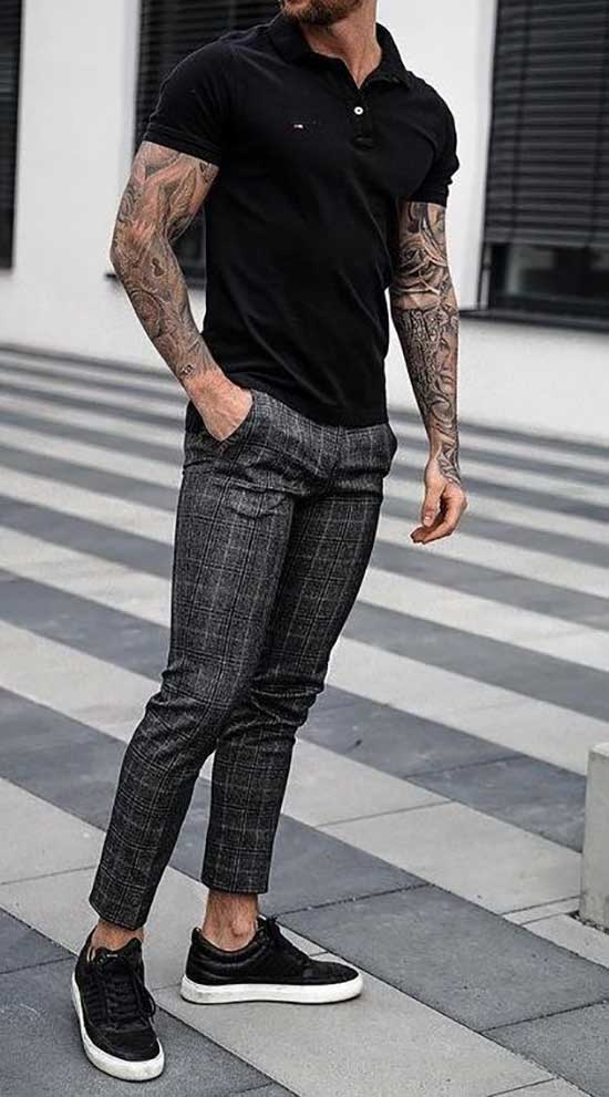 Black Pants Sneakers Outfits Mens