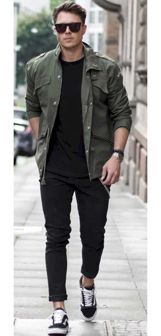 Black Pants with Vans Outfits Mens