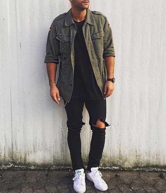 Black Ripped Jeans Outfit Mens