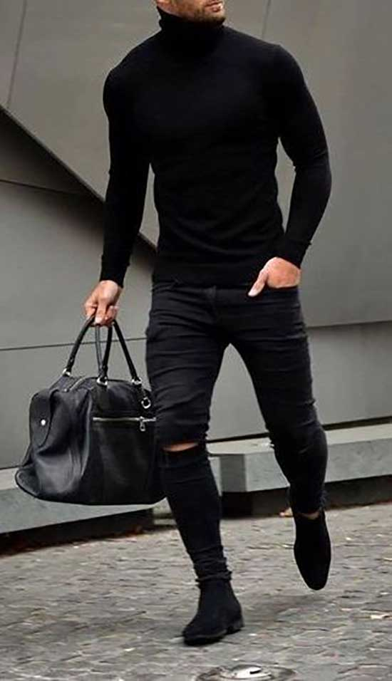 Black Ripped Pants Outfits Mens