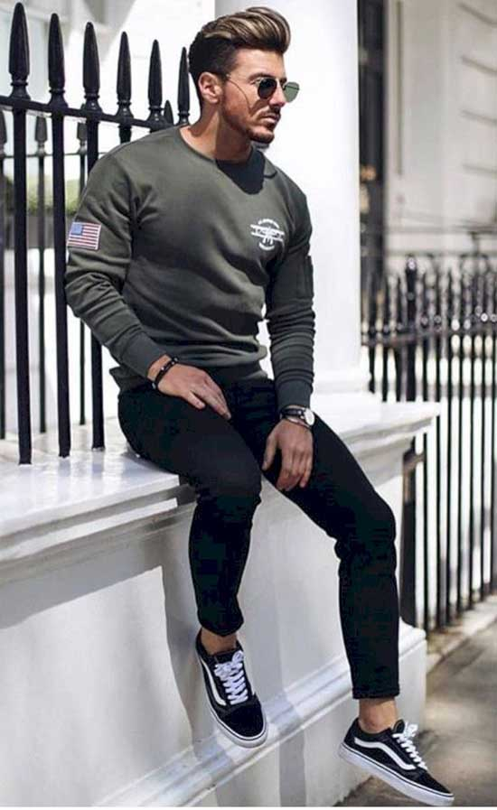 Casual Black Pants Outfits Mens