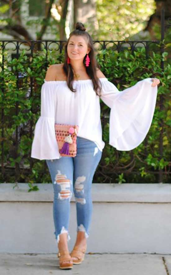 Summer Off The Shoulder Outfits for Curvy Women