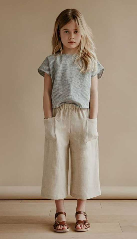 Cute Little Girl Summer Culottes Outfits-11