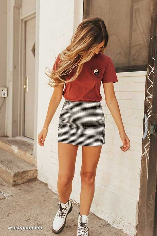 Summer Skirt Outfits for School-11