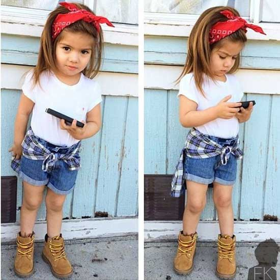 Cute Little Girl Summer Jeans Outfits-16