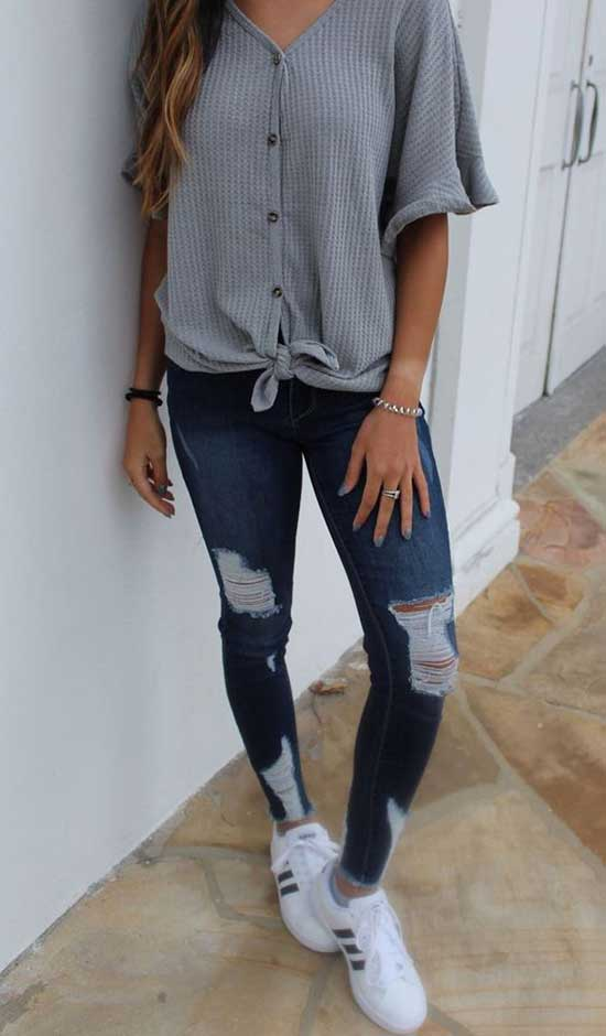 Summer Rıpped Jeans Outfits for School-19