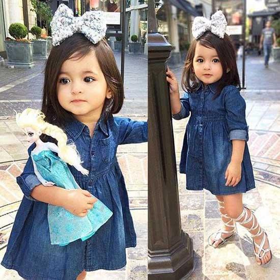 Cute Little Girl Summer Jean Dress Outfits-20