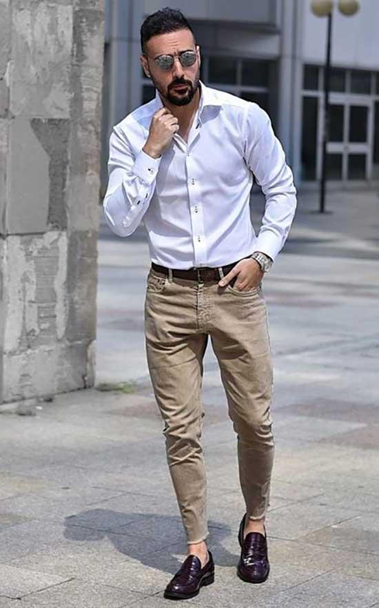 Men Business Casual Khaki Pants Outfits-22