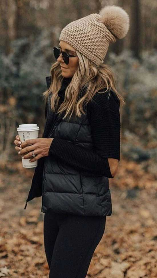 Casual Fall Puffer Vest Outfits-7