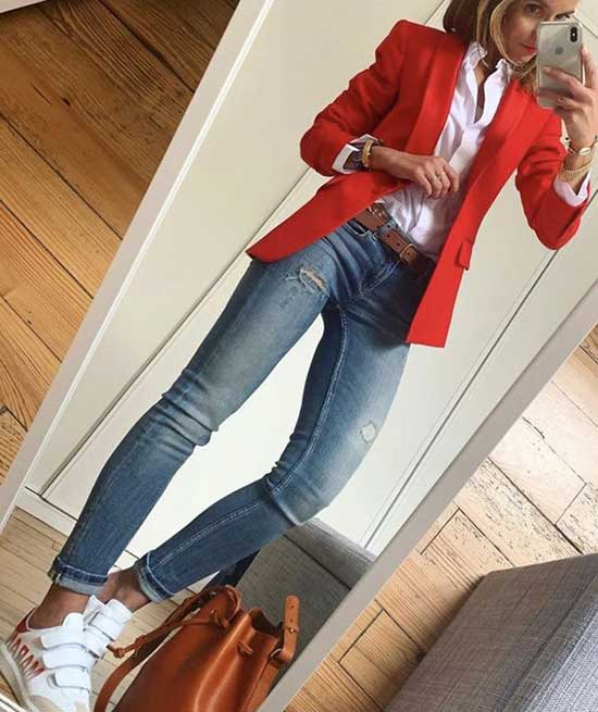 Casual Red Blazer Outfits